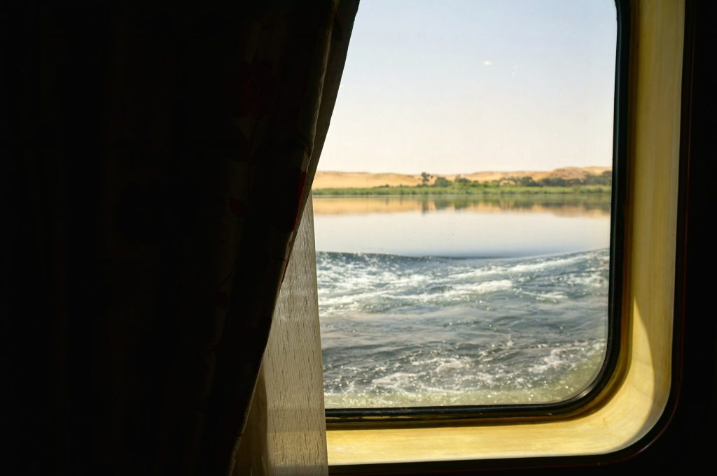M/S Amarco II Nile Cruise cabin window looking out onto the Nile River