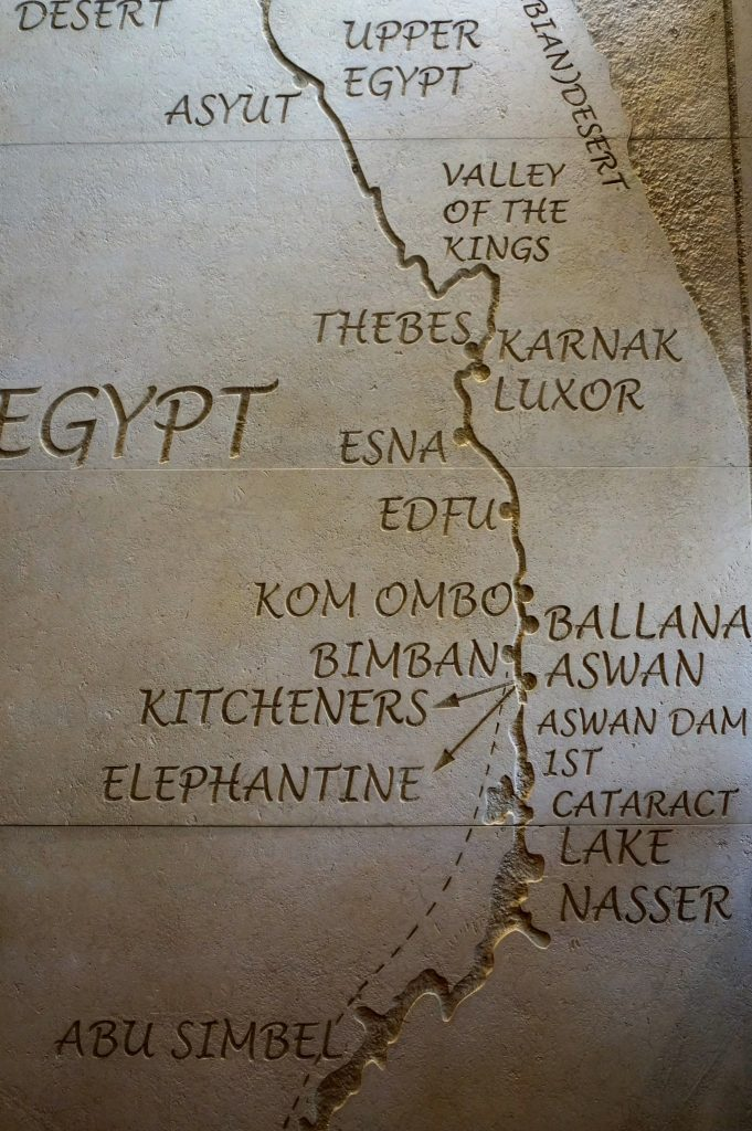 map of Nile River route from Luxor to Aswan