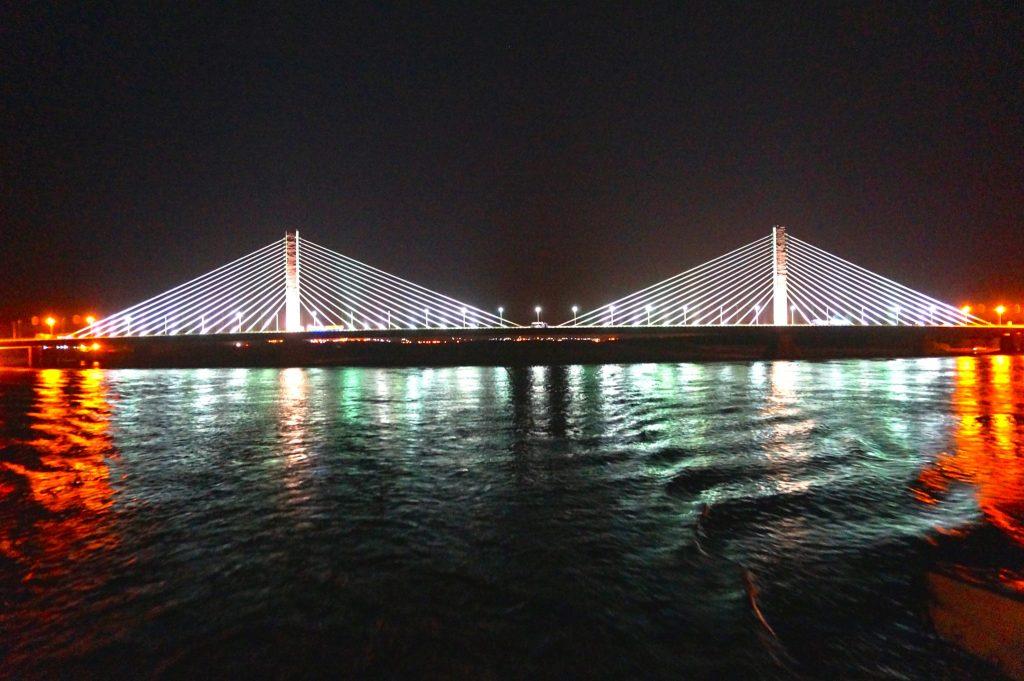 Aswan bridge lit up at night