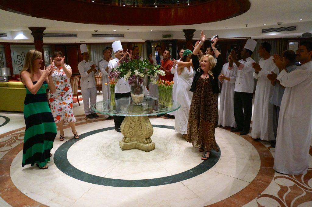 dancing in the lobby of the M/S Amarco II Nile Cruise