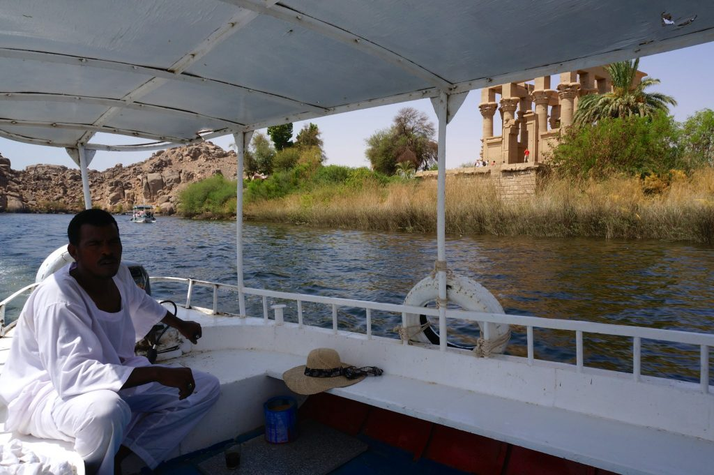 On a boat to Temple of Isis at Philae