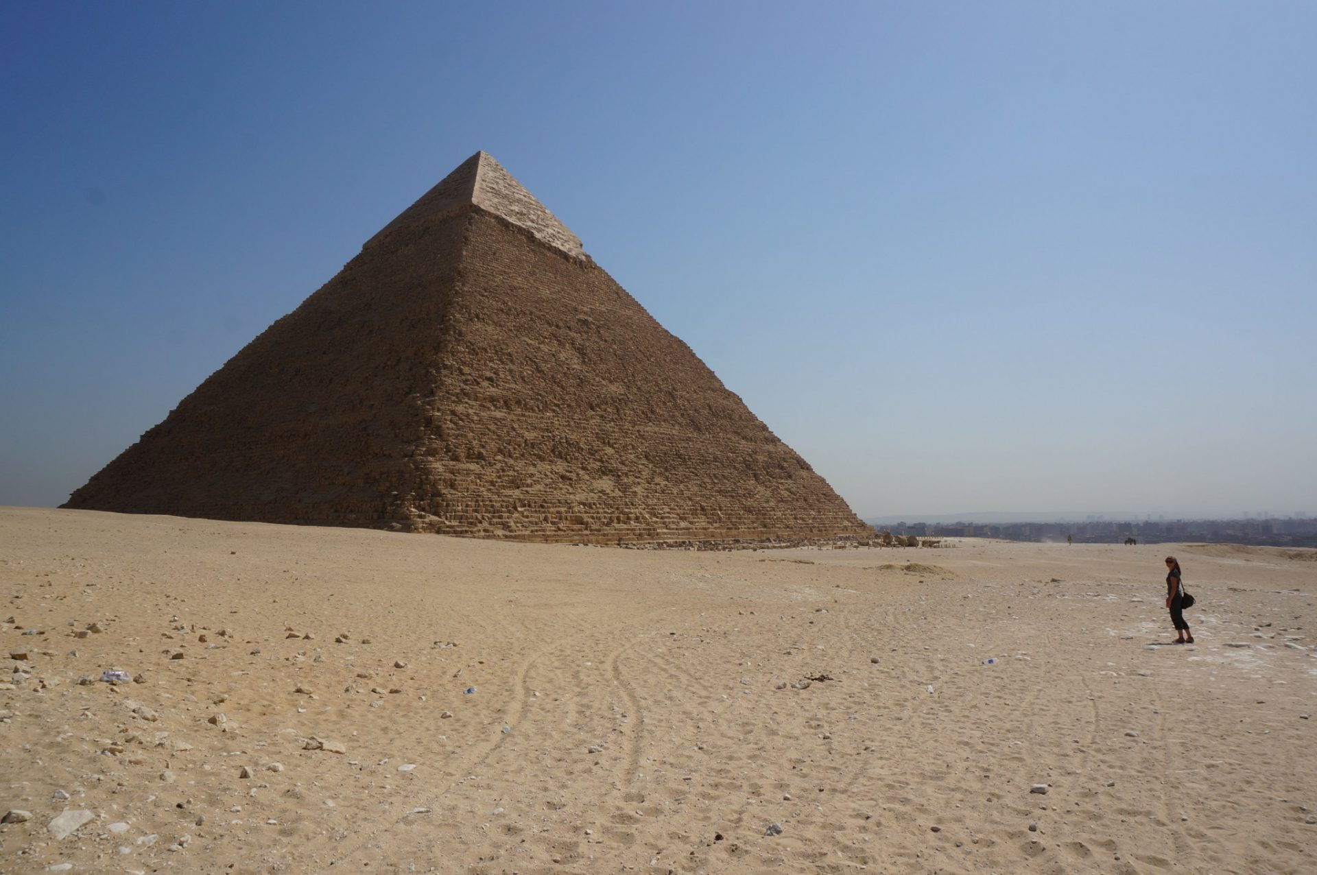 Alone at the Great pyramids in the summer with no tourists in sight