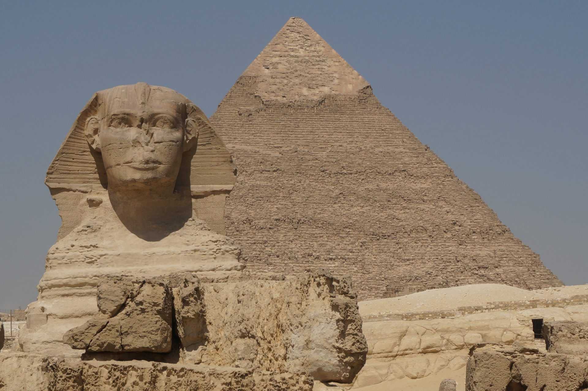 Sphinx in front of Great Pyramid in Egypt
