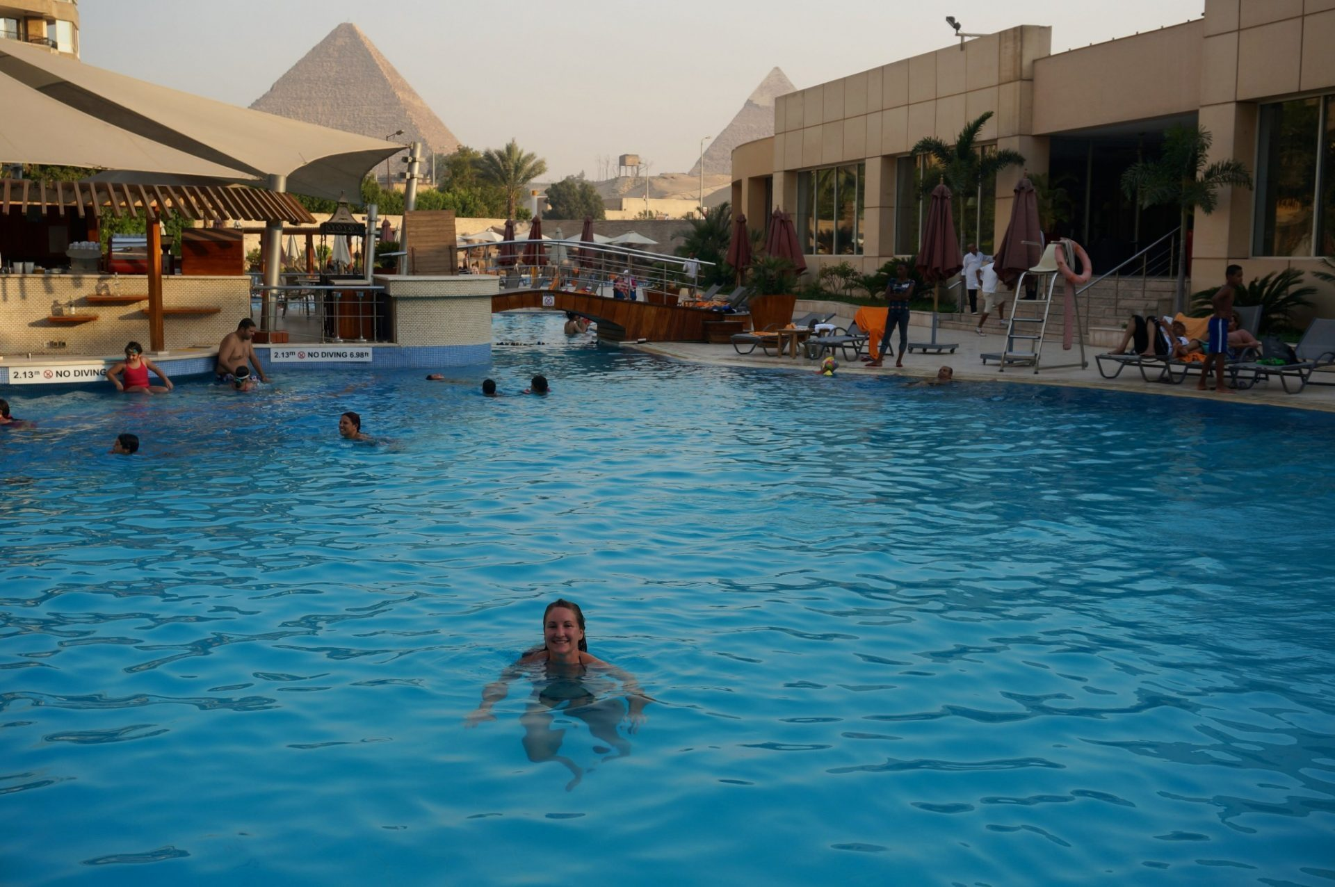 Le Meridian Pyramids Giza pool with Great Pyramids view in the background