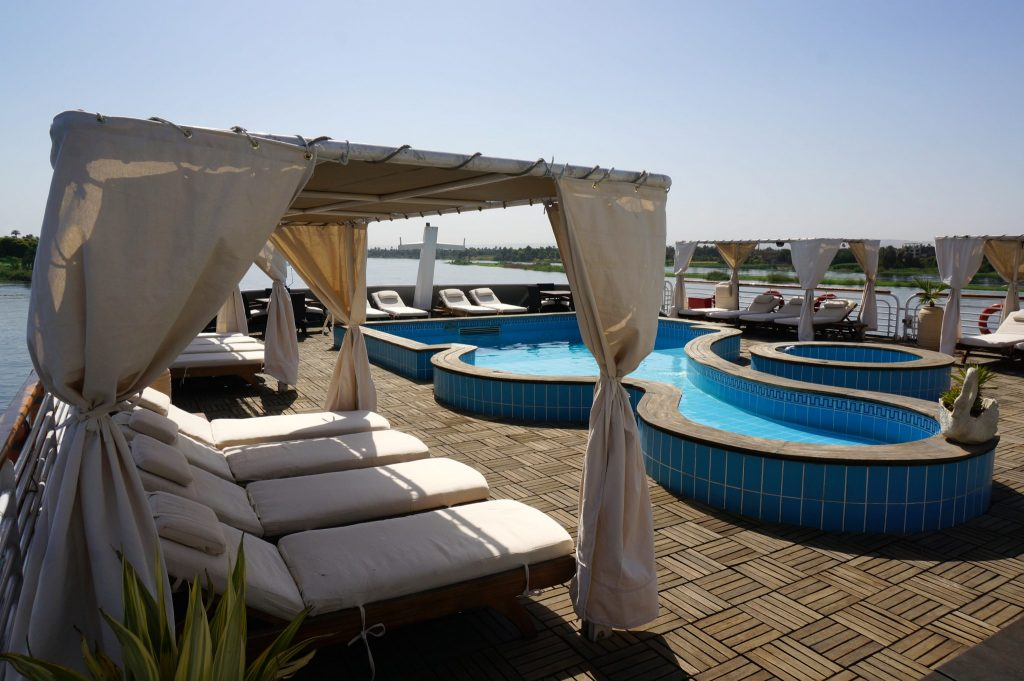 Pool and cabanas of nile river cruise ship
