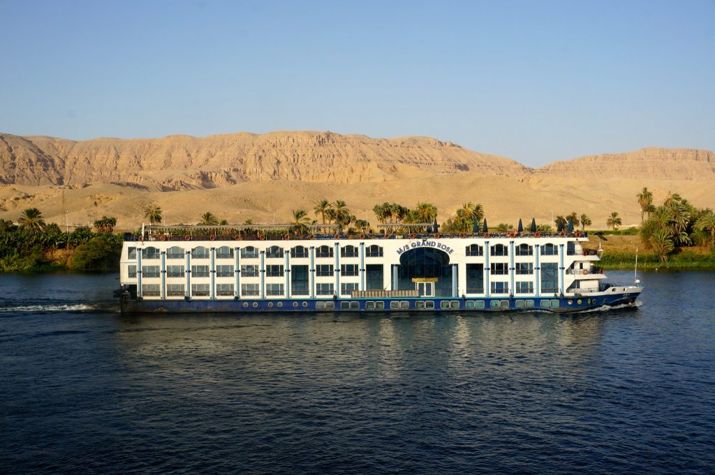 Cruise ship traveling down the Nile River from Aswan to Luxor