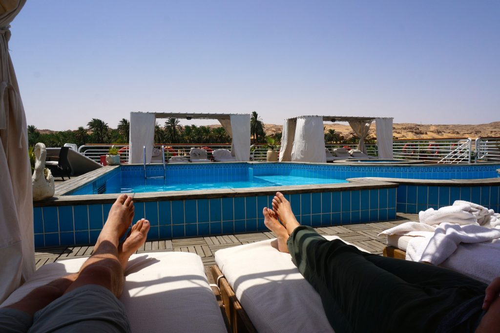 Nile river cruise Luxor to Aswan on pool deck