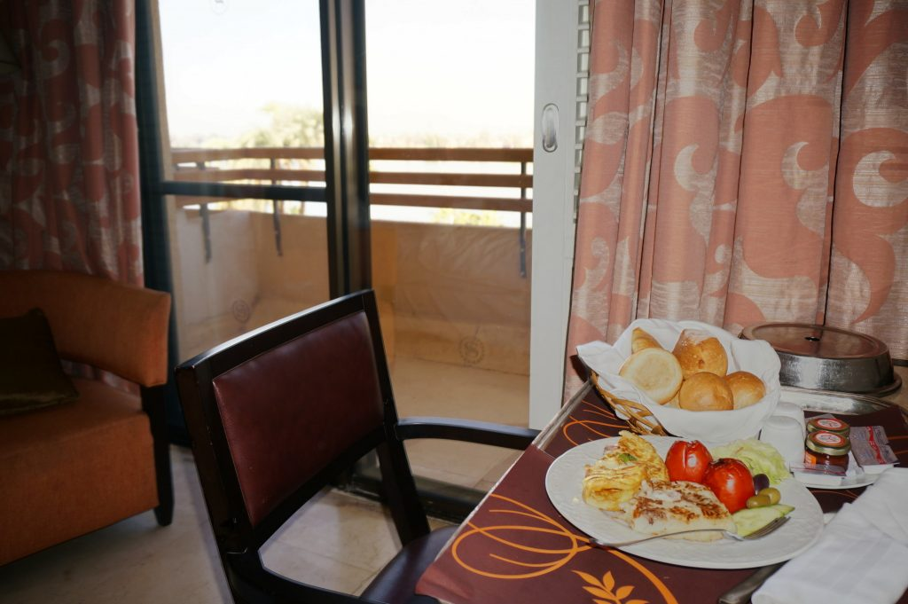 Room service breakfast at the Sheraton Luxor Resort