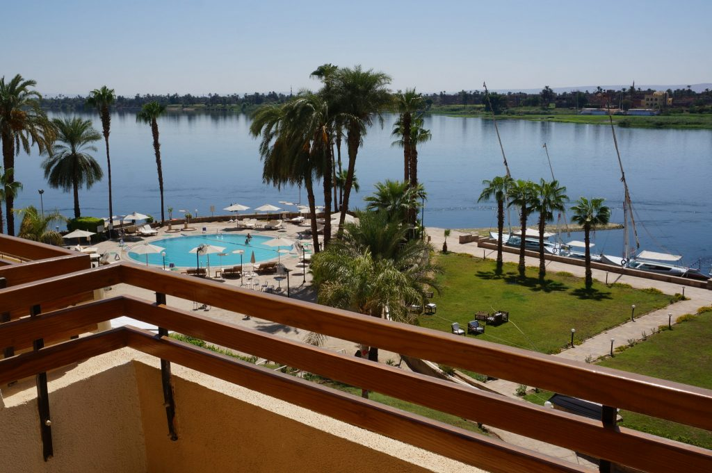 Sheraton Luxor Resort balcony with Nile River view is a great hotel deal in Luxor