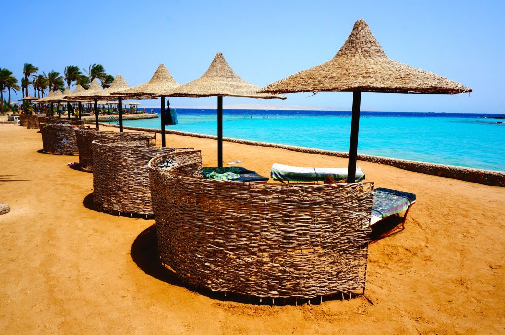 Hurghada Red sea resort beach cabanas and very blue ocean