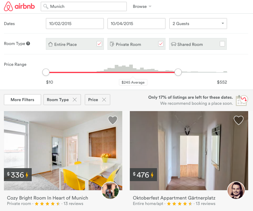 Expensive Airbnb apartment rental availability for Oktoberfest 2015