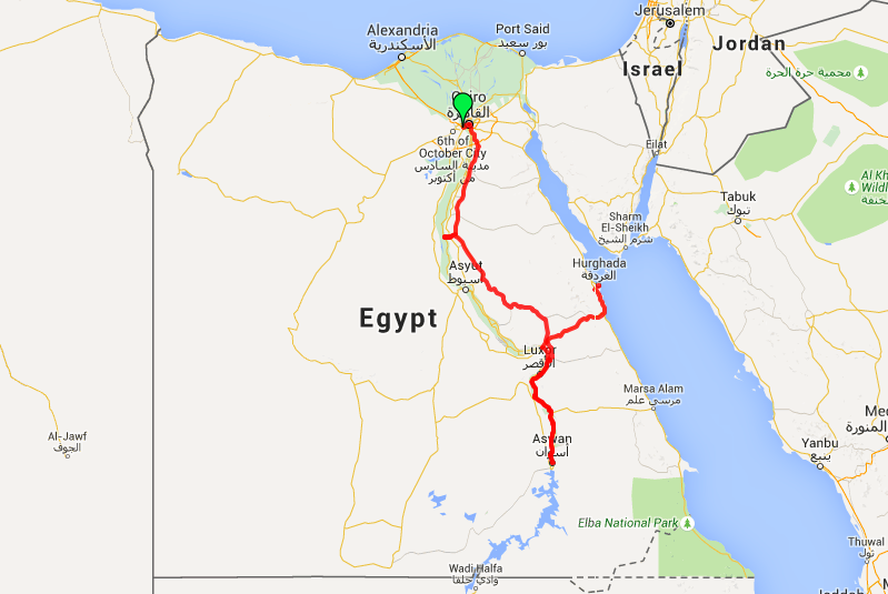 Egypt Two Week Itinerary Map from Cairo to Aswan to Luxor to Hurghada, good for Backpacking Egypt or Luxury Travel