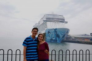 John & Heather standing in front of the Norwegian Bliss cruise ship in Southampton England