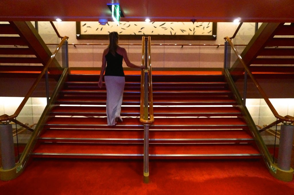 Using the stairs on a cruise ship will burn 5 calories per flight, making for a good cruise hack to not gain weight