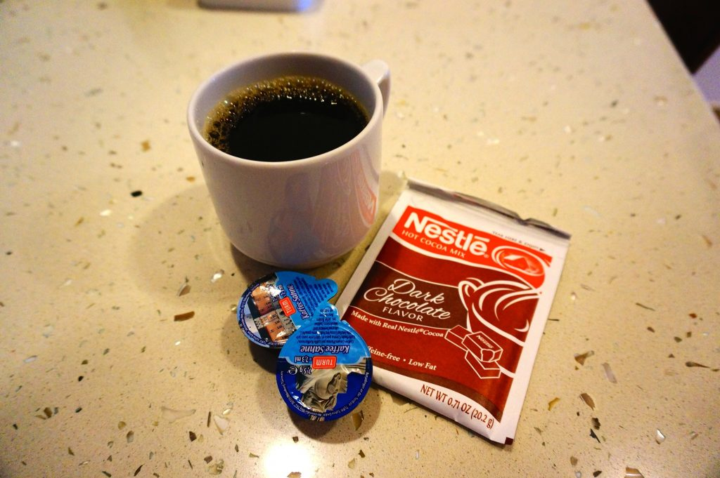 Specialty coffee cruise hack: how to make your own cafe mocha for free by using hot chocolate packet, creamers, and coffee from the buffet