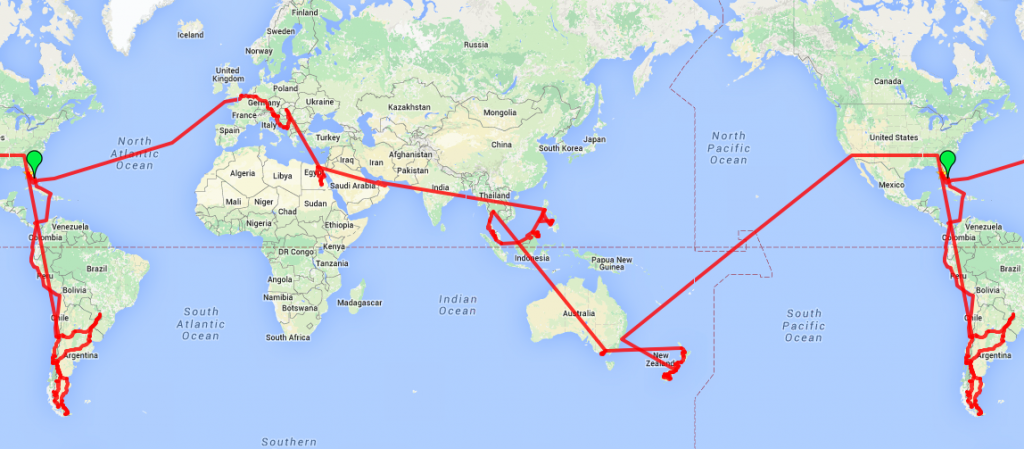 Year #2 - Round the World route map