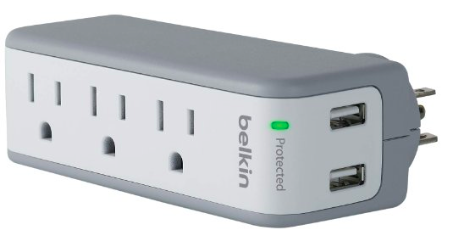 Belkin SurgePlus 3-Outlet Mini Travel Swivel Charger Surge Protector with Dual USB Ports can be a great way to keep all of your electronics charged while on a cruise ship
