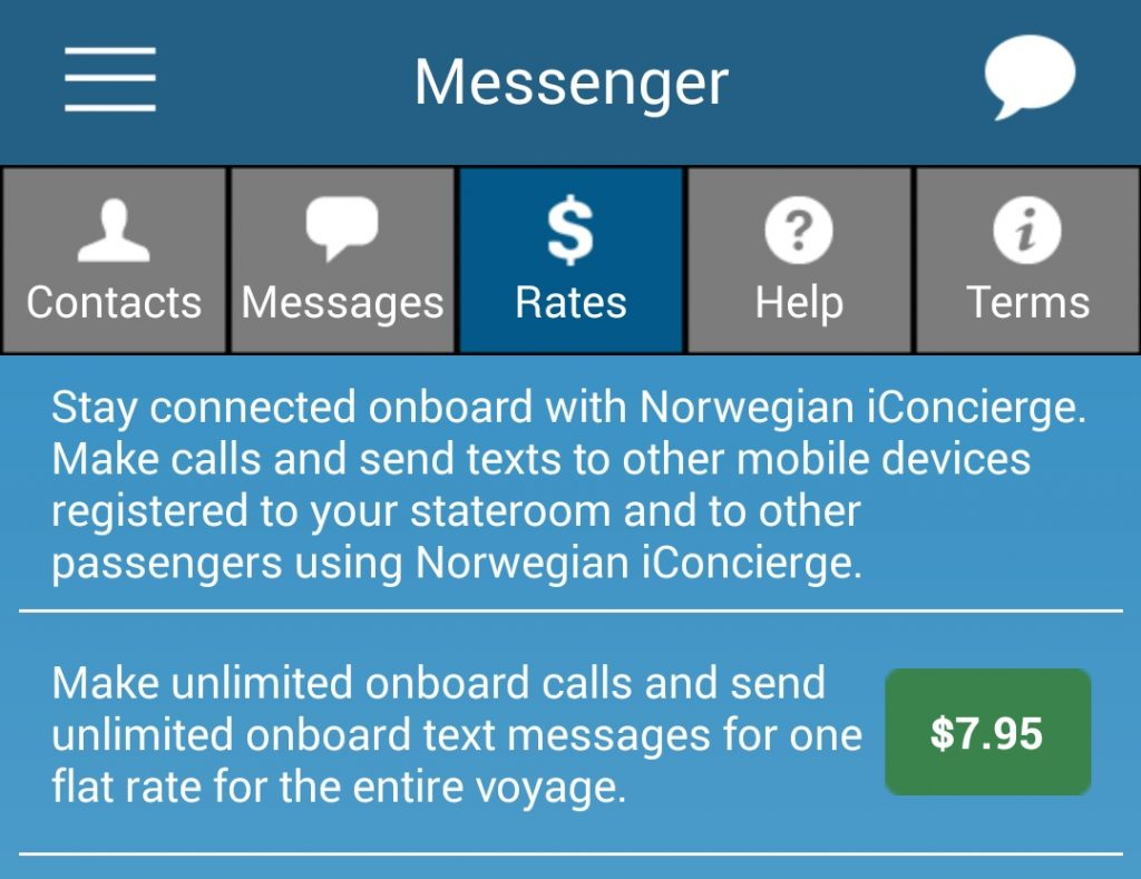 Norwegian cruise app allows you sot stay connected onboard with Norwegian iConcierge. Make calls and send texts to other mobile devices registered to your stateroom and to other passengers using the app. Make unlimited onboard calls and send unlimited onboard text messages for one flat rate for the entire voyage.
