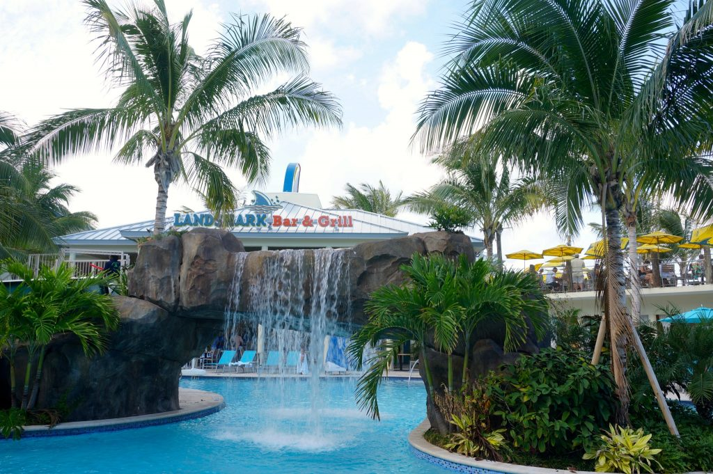 Resort Pool, Waterfall, and Landshark Bar at the Margarittaville Resort Hollywood Beach Florida