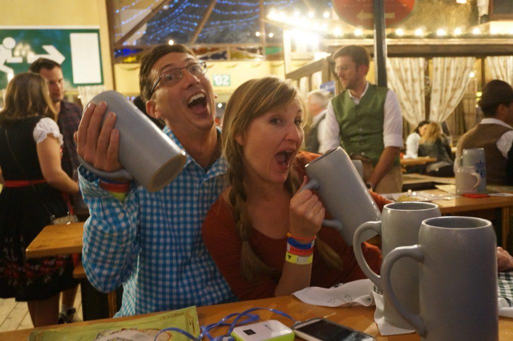 Drinking liter beers at Oktoberfest in Munich