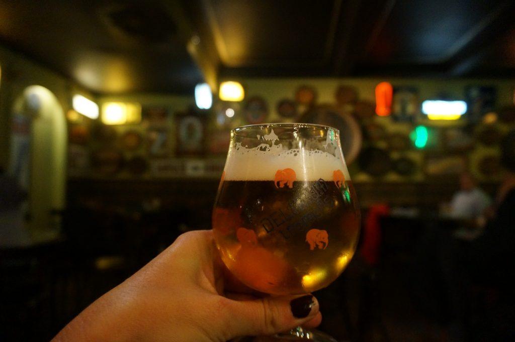 Drinking Delerium at the Delerium cafe while Delirious in Brussels Belgium