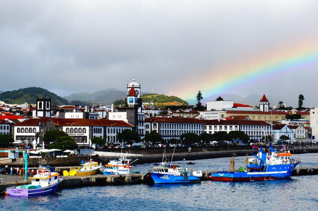 Rainbow at Ponta Delgada Azores Portugal