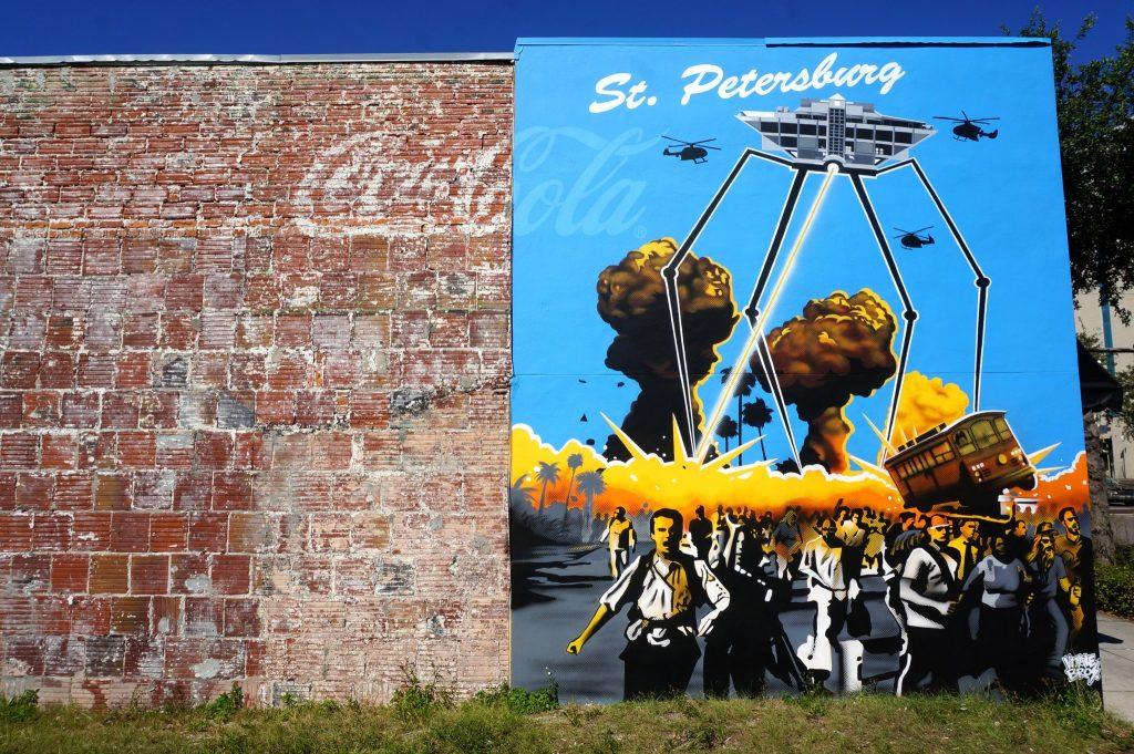 St Petersburg Florida street art mural on side of building in downtown