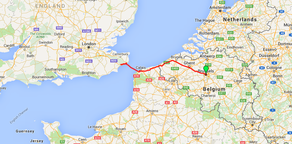 Route map from Brussels to Dover by bus