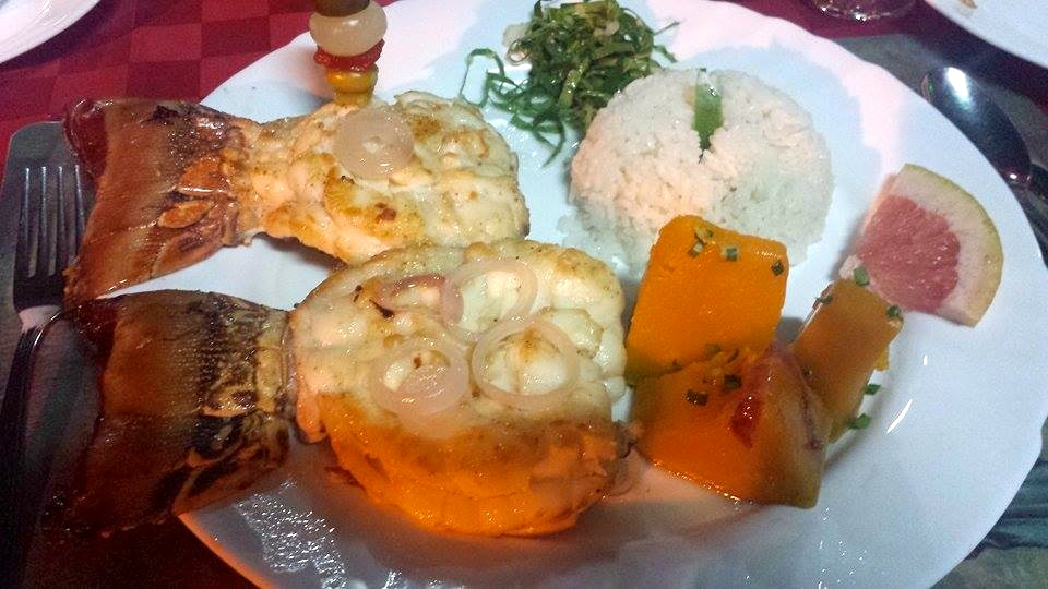 grilled lobster meal in Cuba