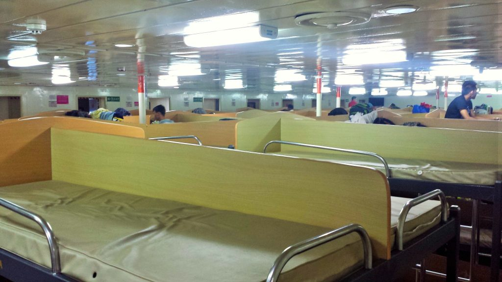 tje bunk beds (cots) where we slept overnight during our voyage on a filipino ferry
