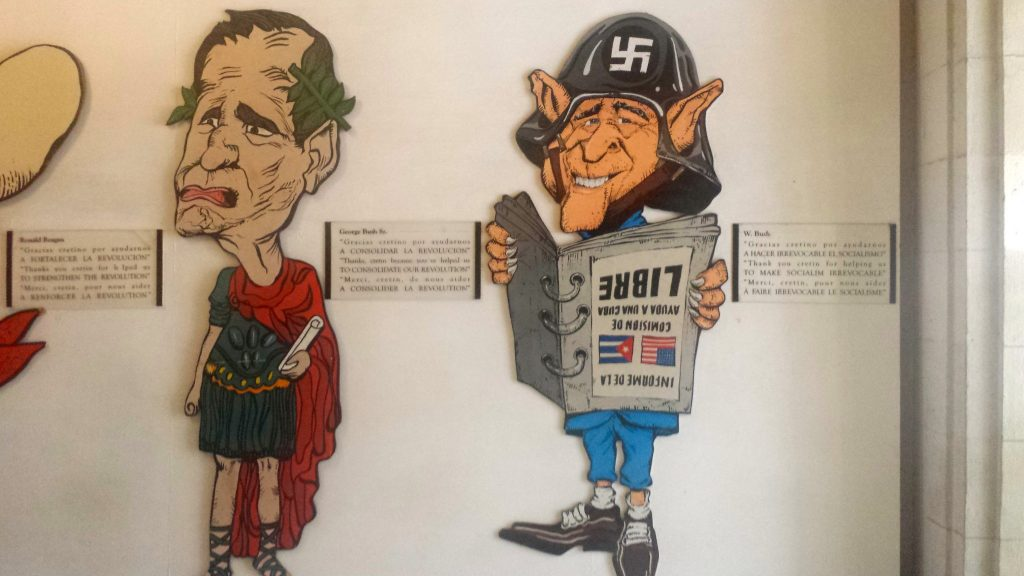 Cuban propaganda showing George W Bush in a Nazi hat as seen in the Revolution Museum in Havana, Cuba