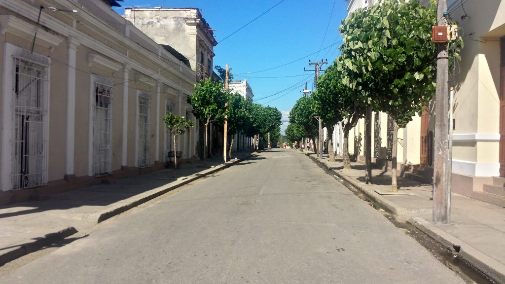 Empty street with no cars in Cuba