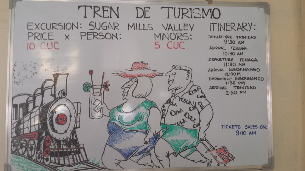 Cartoon depiction of tourists boarding a tourist train in Trinidad Cuba