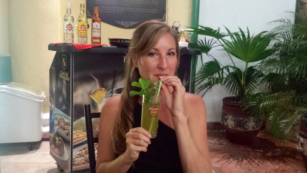 Heather drinks a traditional mojito in Cuba which contains bitters