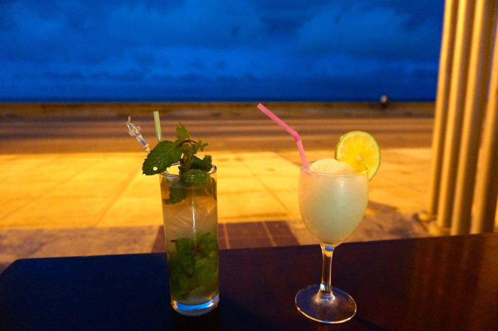 Two of Cuba's national drinks: a mojito and a daiquiri