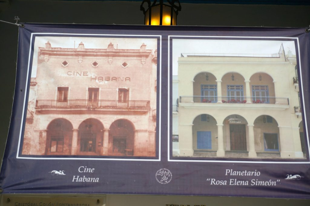 Construction project in Plaza Vieja in Habana Vieja in Havana Cuba showing the Cine Habana in now the Planetario Rosa Elena Simeon