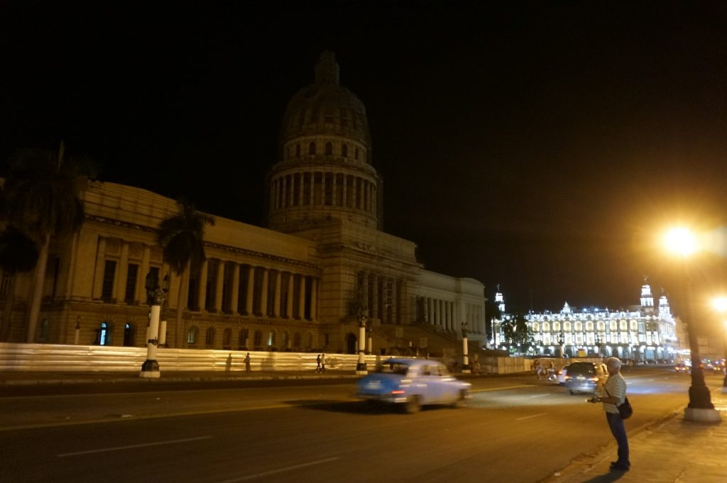 Capital building in Havana at night in Cuba