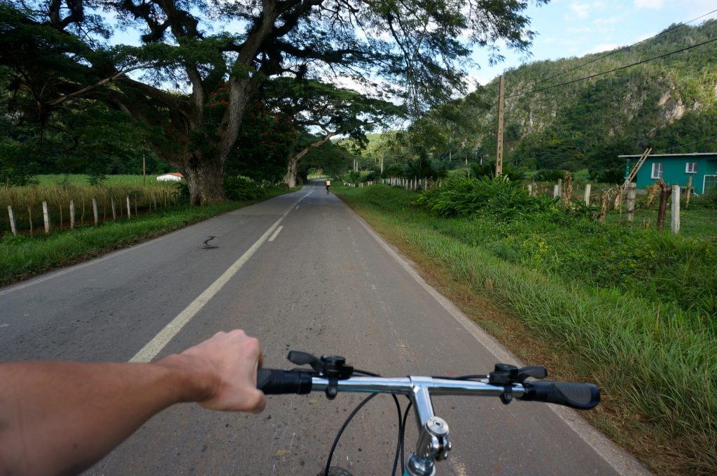Riding bikes in Viñales Cuba without using bike locks illustrates that Cuba is safe