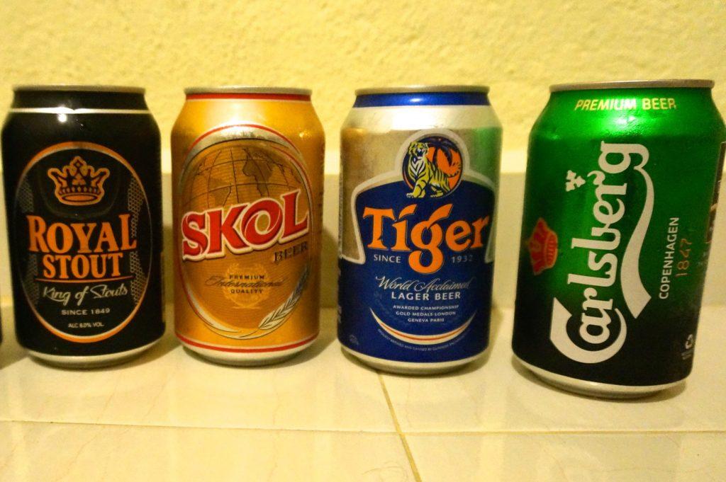 Malaysian beers: Royal Stout, Skol, Tiger, Carsburg
