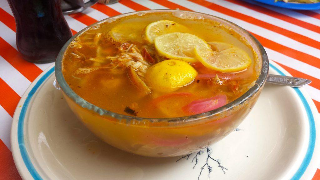 Yucatan sopa de lima served in Parque Santiago in Merida