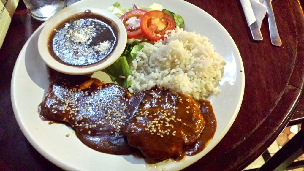 chicken mole at Las Vigas Merida which we think is one of the best restaurants in Merida for value