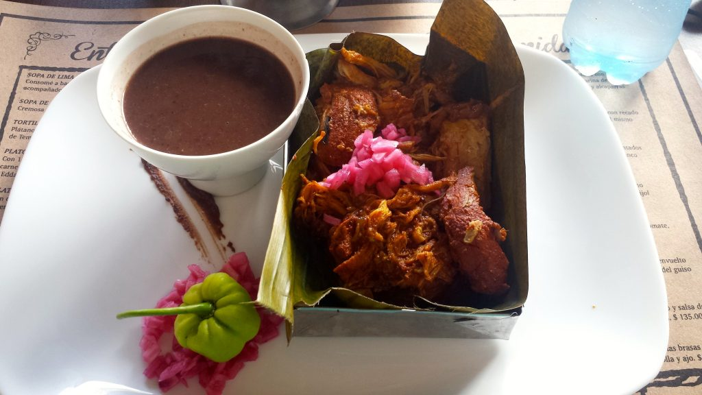 The Cochinita pibil at Manjar Blanco in which chef Rick Bayless raves as one of the best restaurants in Merida