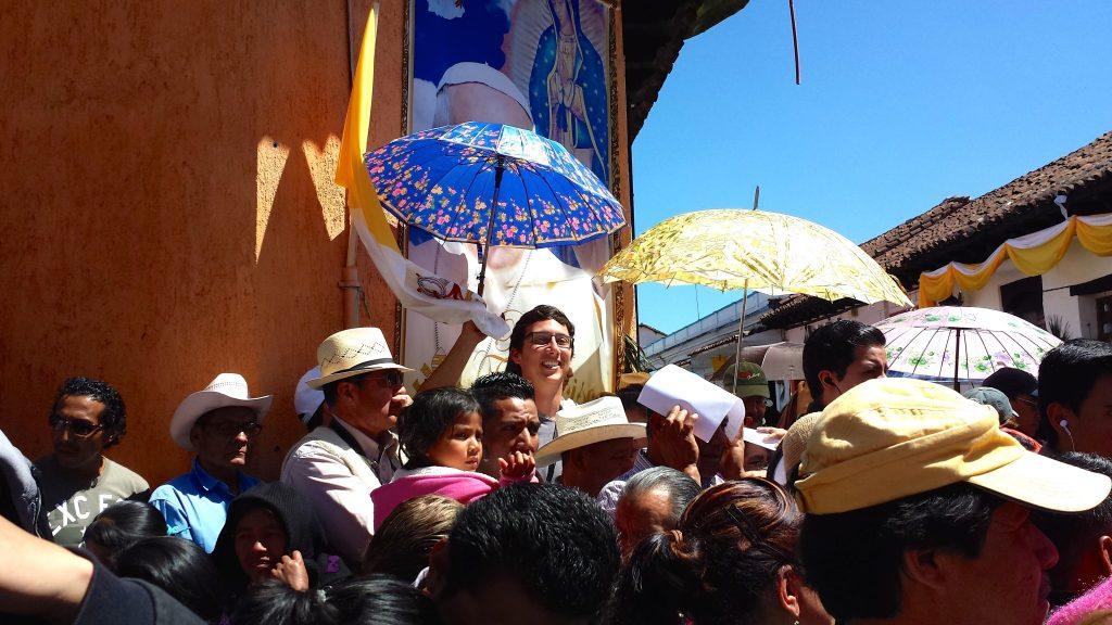 Crowds in San Cristobal de Las Casas, Chiapas, Mexico awaiting the Popemobile to arrive