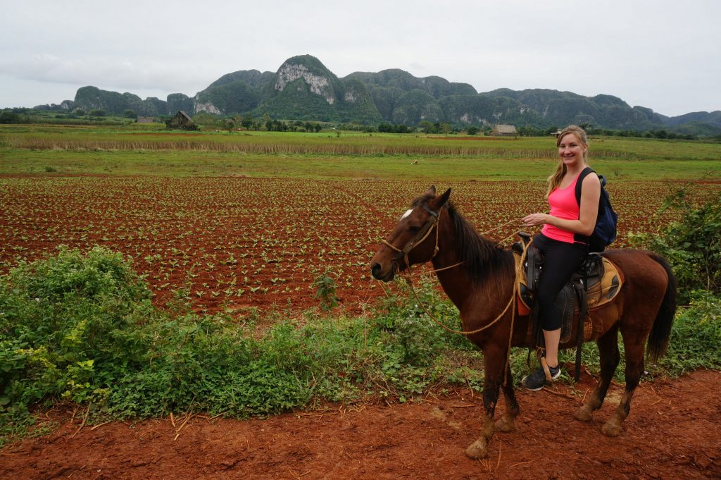 horseback riding in the valle de Vinales Cuba