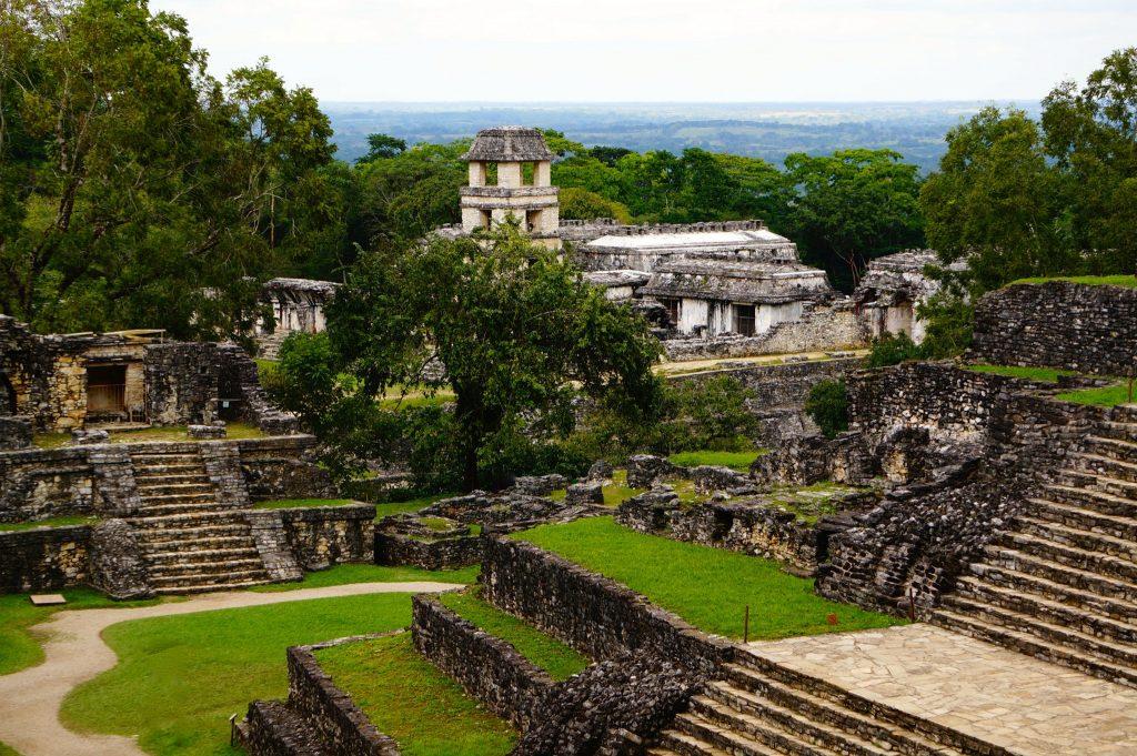 A view of el palcio (the palace) Mayan ruins at Palenque