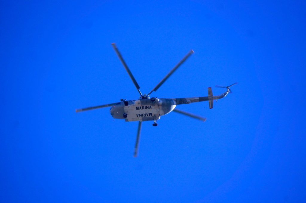 Presumedly the Pope's helicopter as he flew into San Cristobal de las Casas, Chiapas, Mexico