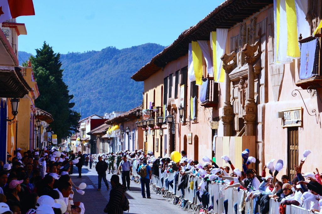 Doing the wave for the Pope coming to San Cristobal de las Casas Mexico