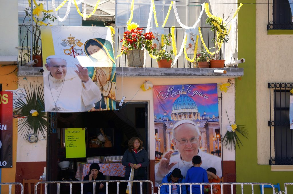 Signs and banners of Pope Francis show Popemania overtaking the town of San Cristobal de las Casas, Chiapas, Mexico