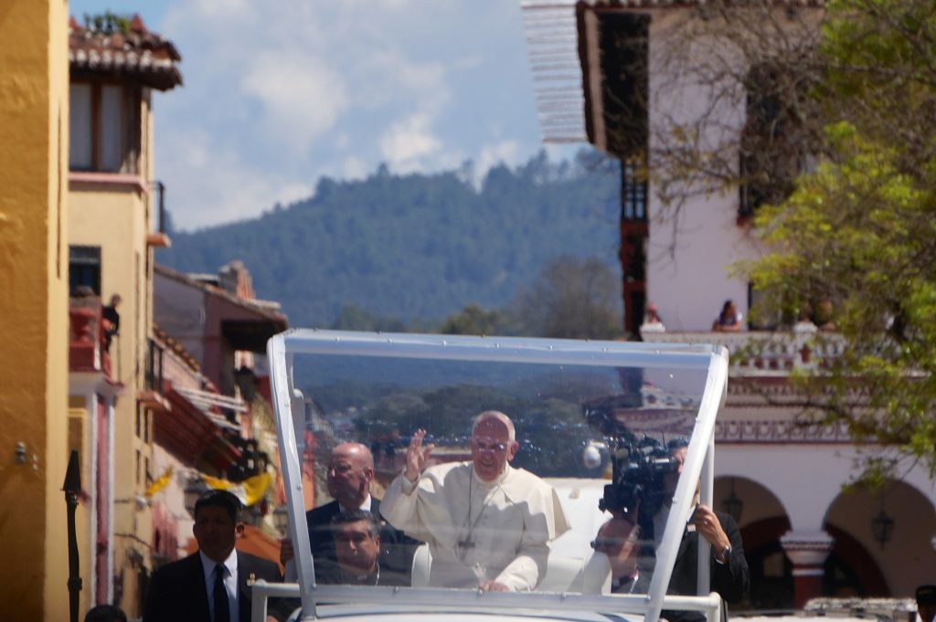 Pope Francis approaches the cathedral San Cristobal de las Casas, Mexico