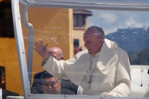 Coming face to face with Pope Francis in Pope Francis approaches the cathedral in San Cristobal de las Casas, Mexico
